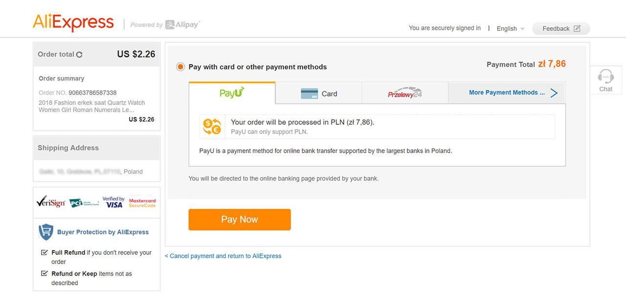 aliexpress metody płatności