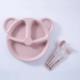różowy talerzyk ze sztućcami dla dzieci